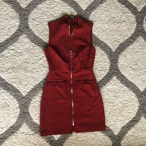 Burgundy Zip up Dress with Pockets.